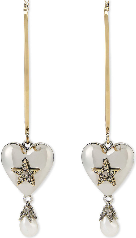 Alexander McQueenAlexander Mcqueen Heart pearl large hoop earrings
