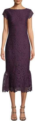 Shoshanna Swen Lace Flounce-Hem Dress
