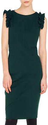 Akris Punto Sleeveless Ruffled-Sleeve Jersey Knee-Length Dress