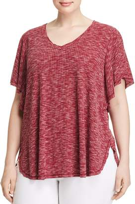 Bobeau B Collection by Curvy Mariee Ribbed Space-Dye Tee