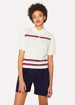 Paul Smith Women's Cream Knitted Henley Polo Top With Stripes
