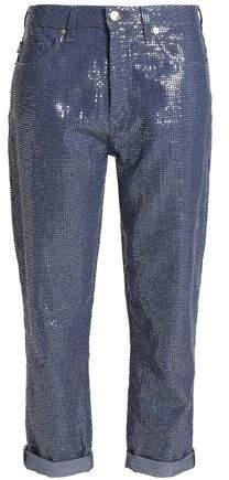 Cropped Sequin Boyfriend Jeans