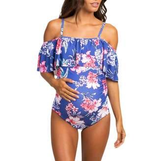 a6ddb545466a3 SULEAR New Maternity Wear Ropa De Maternidad Women Maternity Tube Top Print  Bikini Swimwear Swimsuit Bathing