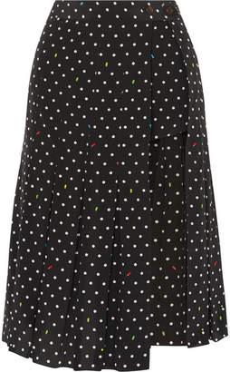 Sandy Liang - Uniform Cutout Polk-dot Silk-crepe Skirt - Black