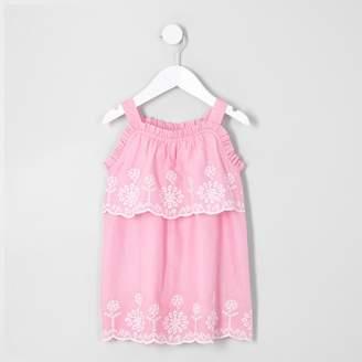 River Island Mini girls broderie trapeze dress