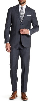 MICHAEL BASTIAN Blue Micro-Check Two Button Notch Lapel Wool Extra-Trim Fit Suit $895 thestylecure.com