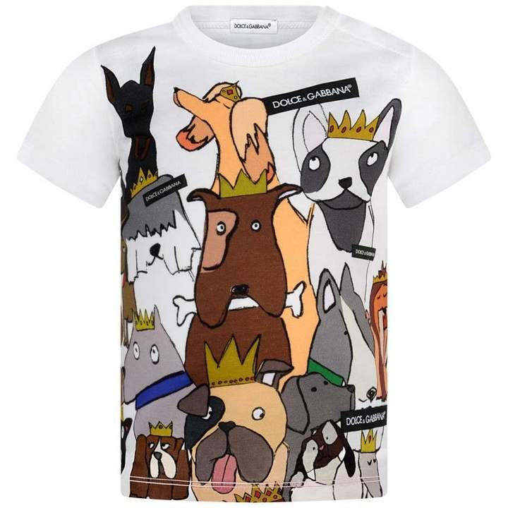 Dolce & GabbanaBaby Boys White Dog Family Top