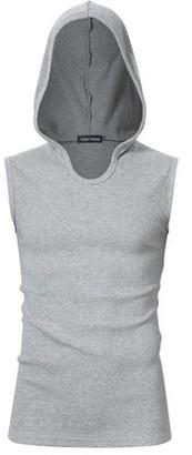 Glowsol Men Casual Cotton Solid Sleeveless Sport Hooded Tank Top Black S Grey XL