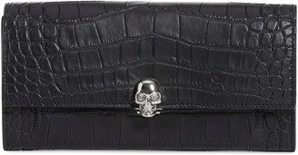 Alexander McQueen Skull Croc Embossed Leather Wallet on a Chain