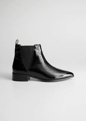 And other stories Patent Leather Chelsea Boots