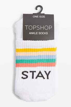 Topshop 'Stay Sick' Slogan Tube Socks