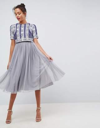 Asos Floral Panelled Embellished Tulle Midi Dress