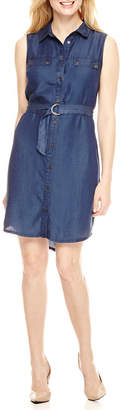 Ronni Nicole Sleeveless Shirt Dress-Petite