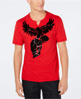 INC International Concepts Inc Men's Skull Eagle Reversible Sequin Graphic T-Shirt, Created for Macy's