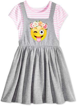 Awake Layered-Look Emoji Jumper Dress, Toddler Girls