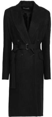 Ann Demeulemeester Double-breasted Herringbone Linen-blend Coat