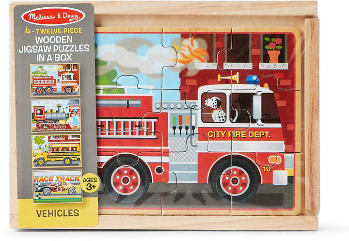 Melissa & Doug Set of 4 Wooden Vehicles Jigsaw Puzzles In A Box