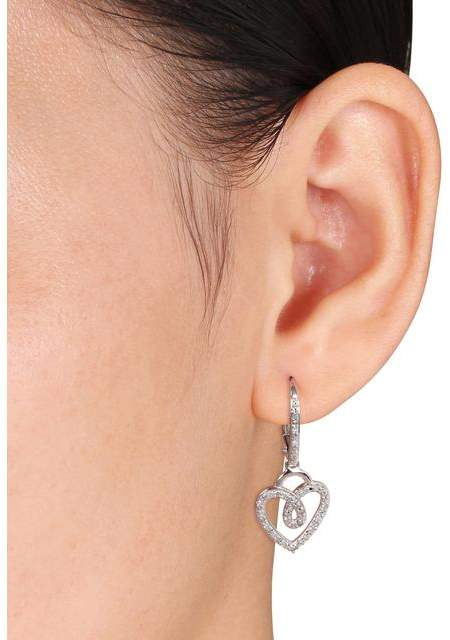 Julie Leah 1/3 CT TW Diamond 10K White Gold Heart Necklace and Dangle Earrings Set