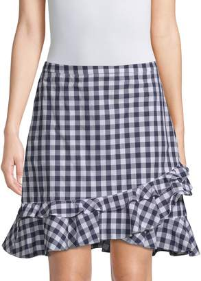 Draper James Gingham Ruffle Mini Skirt
