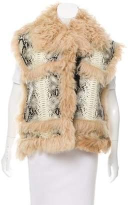 Lanvin Shearling-Trimmed Embossed Leather Vest
