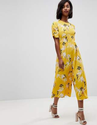 Asos DESIGN Tea Jumpsuit with Ruched Sleeve in Floral Print