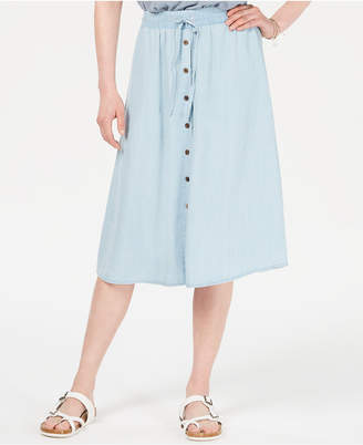 Style&Co. Style & Co Chambray Button-Front Midi Skirt