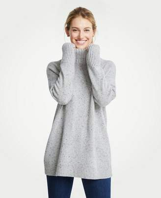 Ann Taylor Cashmere Flecked Turtleneck Tunic Sweater