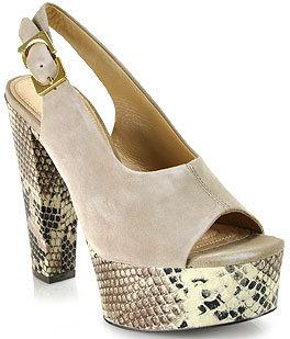 Diane von Furstenberg Robin - Taupe Snakeskin and Suede Platform Sandal
