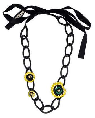 Marni Leather & Resin Floral Chain Necklace