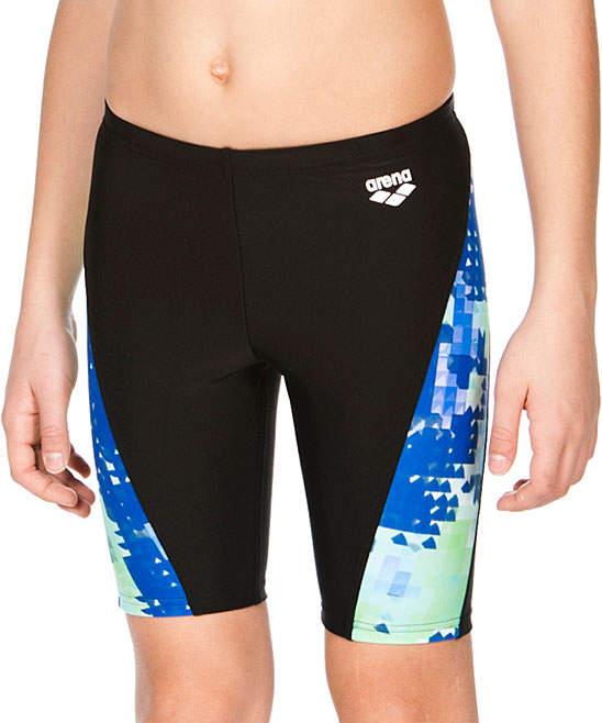 Black & Blue Abstract-Panel Swim Shorts - Boys
