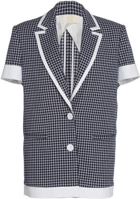 Sara Battaglia Short-Sleeve Piped Cotton Blazer