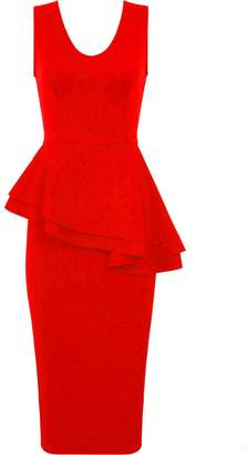 Forever Women Sleeveless Plain Side Slant Peplum Bodycon Midi Tunic Party Dress