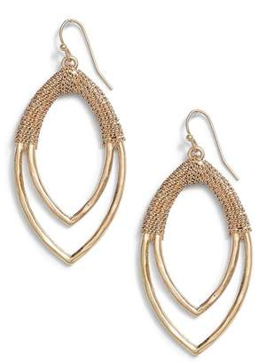 Canvas Chain Wrap Double Marquise Earrings