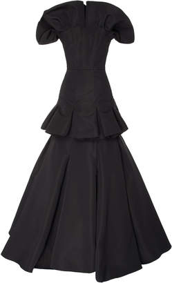 Christian Siriano Tiered Silk Faille Strapless Gown