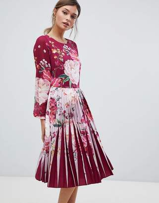 Ted Baker Pleated Midi Dress in Serenity Floral Print