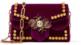 Gucci Broadway Embellished Velvet Shoulder Bag - Burgundy