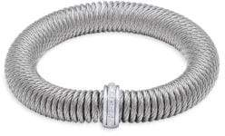 Alor Stainless Steel, 18K White Gold & Diamond Bracelet
