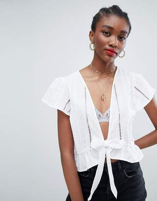 New Look Broderie Tie Front Blouse