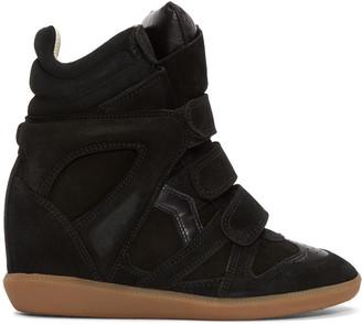 Isabel Marant Black Suede Bekett Wedge Sneakers $555 thestylecure.com