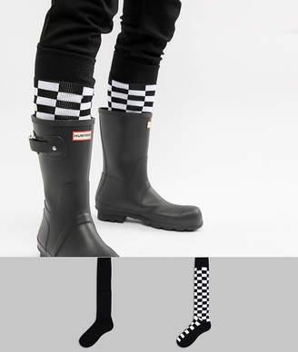 Asos DESIGN welly socks in checkerboard design 2 pack