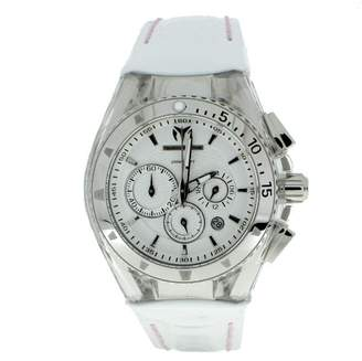 Technomarine Unisex Quartz Watch with Silver Dial Chronograph Display and White Leather Strap 110046
