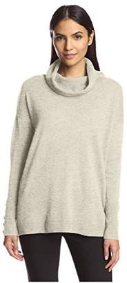 Society New York Women's Button Sleeve Cowl Neck Sweater
