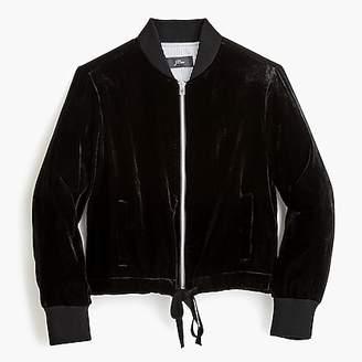 J.Crew Velvet bomber jacket with waist ties