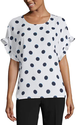 WORTHINGTON Worthington Short Sleeve Scoop Neck Woven Blouse