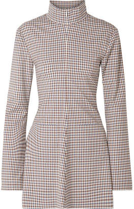 Rosie Assoulin Hans Yolo Checked Stretch-wool Blend Top - Brown