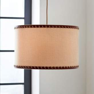 Pottery Barn Teen Burlap And Leather Trim Drum