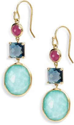Ippolita Rock Candy 18K Gold Triple Stone Earrings