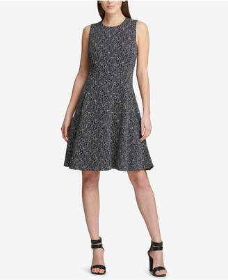 DKNY Tweed Fit & Flare Dress