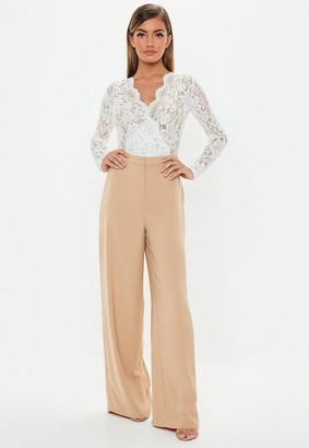 Missguided Camel Wide Leg Pants