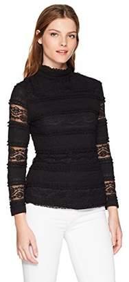 Nanette Lepore Nanette Women's 3/4 SLV Ruffle Mock Neck Knit Top